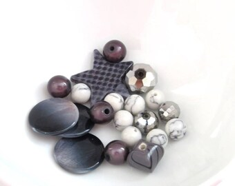 set of 20 gray and silver beads