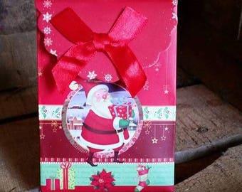 2 x small gift box cardboard zipper flap and Velcro Christmas