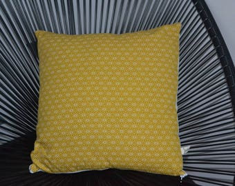 Mustard yellow Japanese fabric pillow cover and back ecru