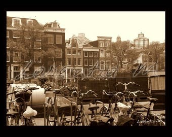 Photo 30X40cm canal in Amsterdam sepia Amstel