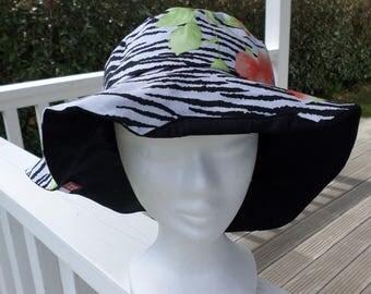 chapeau de soleil d'été femme  noir et orange rouille créateur lin'eva