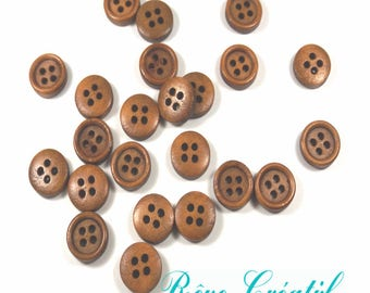 10 Brown Buttons Round Buttons 4 Holes 11mm