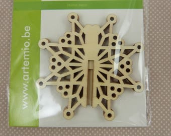 Wooden subjects embellishment: 3D hanging star