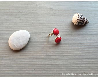 Adjustable ring with 2 red howlite collection pink pumpkin cabochon