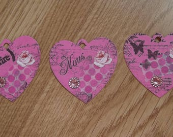 3 Pink Hearts tags for your scrapbooking creations.