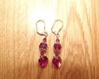 Fuchsia swarovski stud earrings.