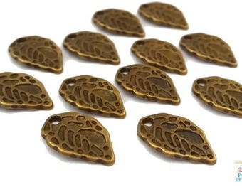 20 charms leaves, bronze color, 10X16mm (bre206)