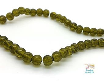 20 green beads 6mm (pv752) cracked glass beads