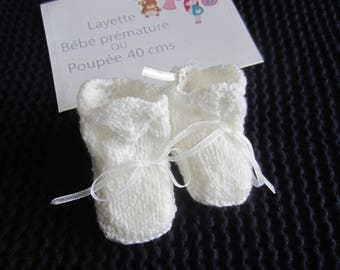 """""""White"""" slippers premature or doll 40 cms has 45 cms"""
