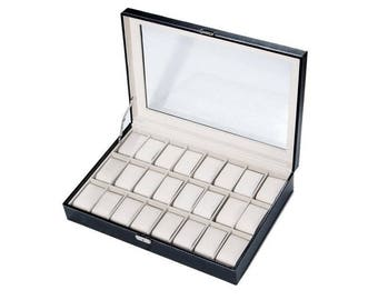 Black display box casket for 24 watches within 15 days