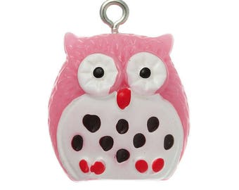1 light pink & white OWL within 15 days charm