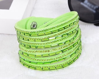 Light green 1 MultiRow bracelet rhinestone colours within 15 days