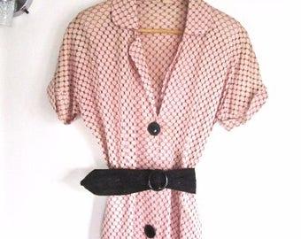 L 50s Dress Pink Black Open Weave Eyelet Honeycomb Black Button Down Front Short Sleeves Nylon VLV Large