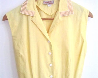 M L 50s Dress Day Casual Sporty Yellow Cotton Sleeveless Button Down Striped Collar by Westbury Fashions VLV Medium Large