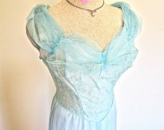 M 40s 50s Aqua Blue Evening Gown Tulle Satin Embroidery by Beau Time Party Dress Swing Prom Medium