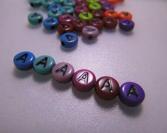 LETTERS COLORS - A - 7MM ACRYLIC BEADS