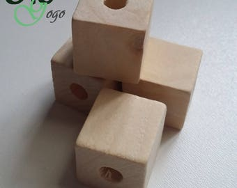 2 '' square natural wooden bead.