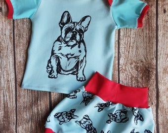 Short pants size 68/74 and T-shirt size 74 French Bulldog