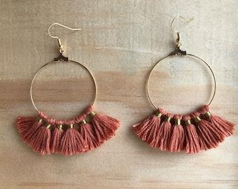 Old pink cotton tassel hoop earrings gold Gold Filled