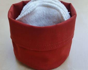 10 discs cleansing washable hemp and cotton + basket rust cotton