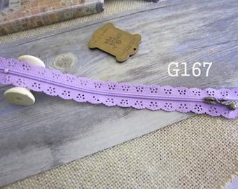 2 x zippers fancy lace lace 20 cm purple G167