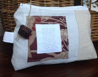 Small pouch made from old linen napkin