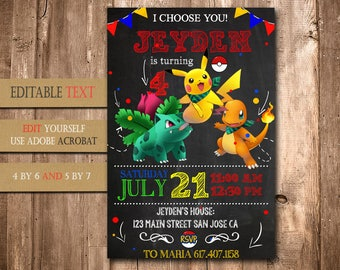 Pokemon, Pokemon Invitation, Pokemon Birthday, Pokemon Party, Pokemon Birthday Invitation, Pokemon Invite Printable, Pokemon Birthday Party