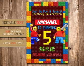 Lego, Lego Invitation, Lego Birthday, Lego Party, Lego Birthday Invitation, Lego Invite Printable, Lego Birthday Party, Lego