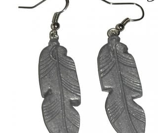 Earrings feather, Fimo, gray