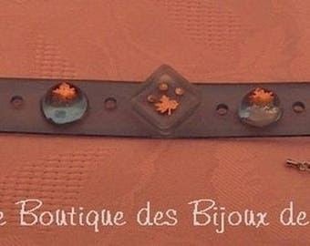 Bracelet silicone and resin cabochons and maple leaves