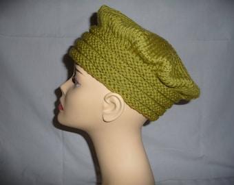 Handmade wool knit olive green beret