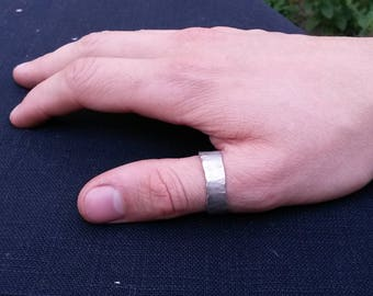 Rustic Silver Thumb ring, Big Forged Ring, Argentium Silver, handmade,  US size 12 Ring, Hammered jewelry