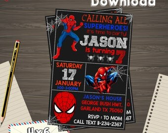Spiderman Invitation, Spiderman Birthday, Spiderman Printable, Spiderman Editable, Spiderman PDF, Spiderman party birthday, Spiderman edit,