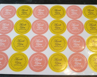 "Set of 96 stickers thank you ""Thank you have a nice day"" yellow and pink 2.7 cm"
