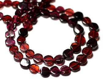 Wire 34cm 59pc - stone beads - approx 5-6mm - 8741140012783 pucks Garnet