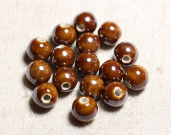 100pc - ceramic porcelain iridescent 12mm Brown round beads