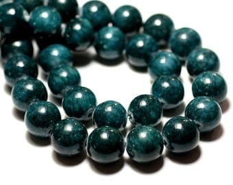 Wire 39cm 29pc env - stone beads - Jade balls 14mm blue green Peacock duck