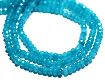 30pc - beads - faceted Rondelle 4x2mm Peacock teal blue Jade - stone 8741140008113