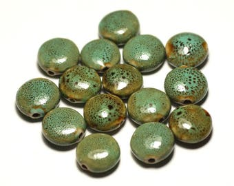 4pc - ceramic porcelain beads 16mm turquoise green spotted yellow pearls - 8741140017634