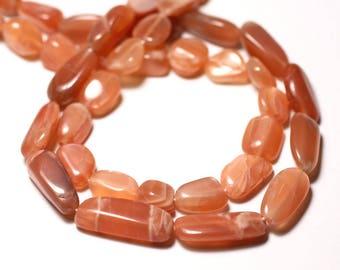 Stone - Moonstone Sun Rose 8-14mm - 8741140011687 Olives beads 10pc-