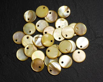 10pc - beads Pearl round beads 11mm yellow 4558550015228 charms