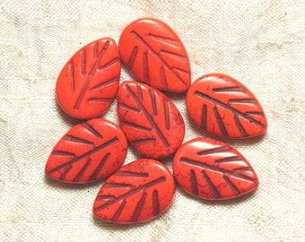 10pc - beads Turquoise synthetic - 20 mm Orange 4558550033994 leaves