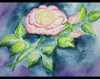 Original illustration painted in watercolor on ARCHES 300 g/m²la pink!