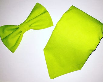 Tie + bow tie with green color