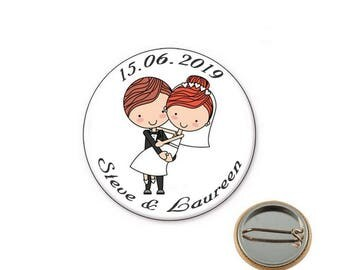 Personalized wedding - Ø25mm pin badge