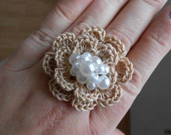 crochet cotton flower ring