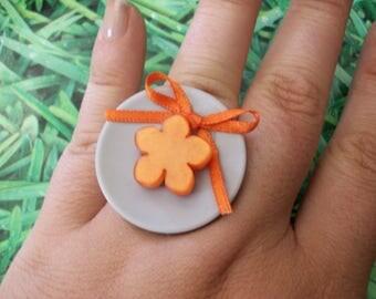 ring orange flower buttons
