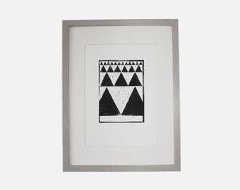 PEAKS A4 Lino Print by James Dixon