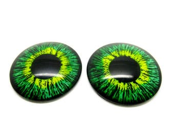 2 cabochons 25mm, dragons, steampunk, frog green glass eyes