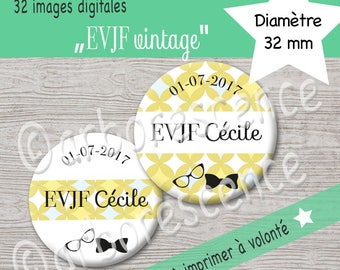 """EVJF """"vintage"""" - 32 Images digitales à imprimer à volonté - Pour cabochon, badge, bijoux"""